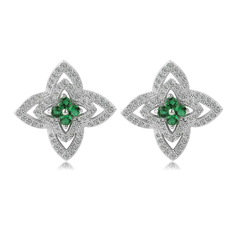 Bishilin Gold Plated Womens Stud Earring 4 Prong White Green Rhinestone Earring Hollow Earrings