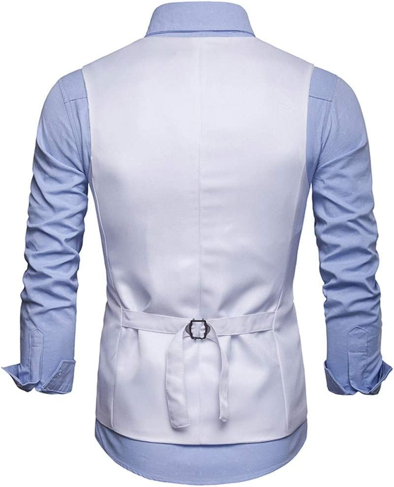 S, Khaki PPangUDing Herren Weste /Ärmellose Anzug Business Printed Blazer V-Ausschnit Herrenanzug Zweireihige Anzugweste Slim fit Vest Casual Hochzeit Regular Design Herrenweste
