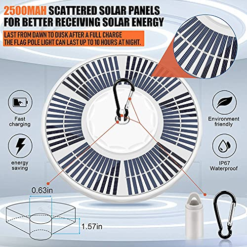 Solar Flag Pole Light 136 LED, 680 Lumens Solar Powered Flagpole Lights for Most 15 to 25 Feet Flag Poles 100% Flag Coverage, 2 Modes 2500MAH Downlight Last Up to 10 Hours, IP67 Waterproof Auto On/Off