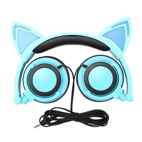 Orejas de gato auriculares, laotzi plegable parpadeante ...
