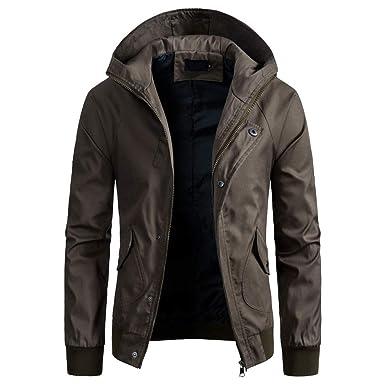 Amphia - Trenchcoat für Herren mit Kapuze - Männer Frühling Winter  einfarbig Jacke Reißverschluss Button Kapuze aa51cc2895