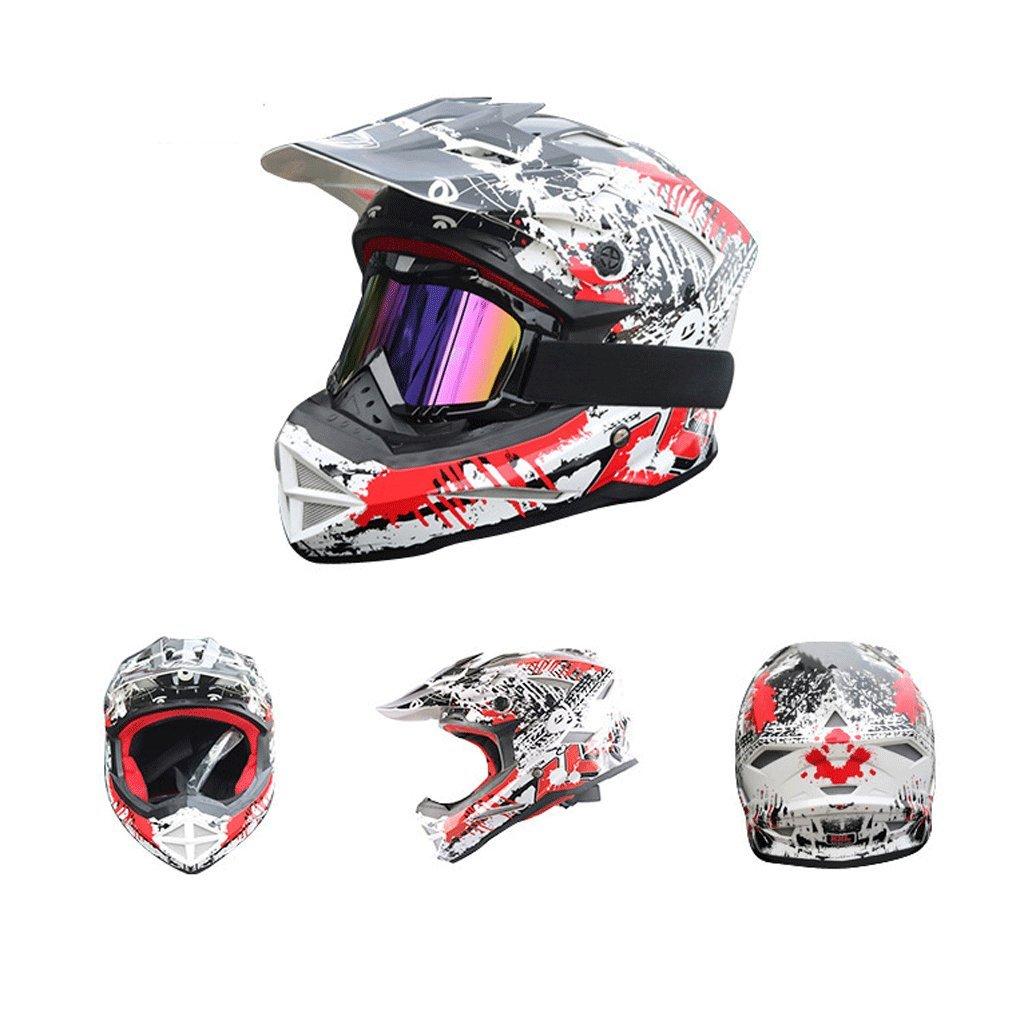 DGF ヘルメット超軽量オフロードレーシングダウンヒルヘルメットオートバイ機関車マウンテンバイクスポーツフルカバー男性と女性 (色 : 白, サイズ さいず : XL) B07FNSHFZS X-Large|白 白 X-Large