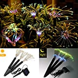 Solerconm Solar Garden Decoration Lights Outdoor,LED Solar Firework Lights 144 LEDs Landscape Stake Light 8 Mode DIY Starburst Lights for Pathway Backyard Christmas Party Decor (Multicolor)