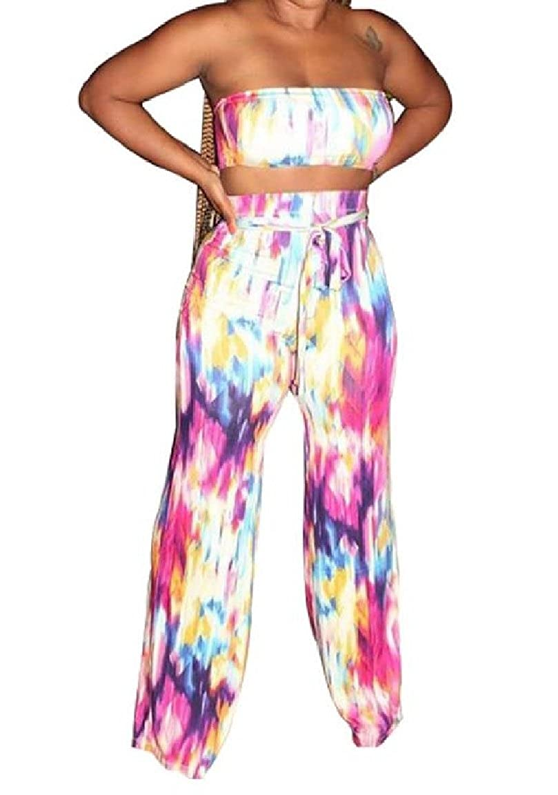 Romantc Womens 2 Pieces Chest Wrapped Straps Tie-Dyed Colorful Casual Outfit Jumpsuit Sets