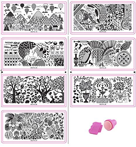 HipGirl Nail Art Large Nailart Polish Stamping Manicure, French Tip Image Plates Accessories Kit Collection (Set#3 - 7 Large Plates (>130 - Images Adventure California