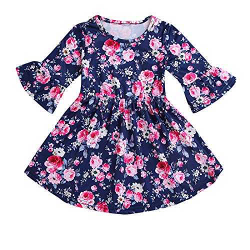 (Toddler Kid Baby Girl Dress Floral Ruffle Half Sleeve Skirt Fall Clothes Set (Navy, 3-4 Years))