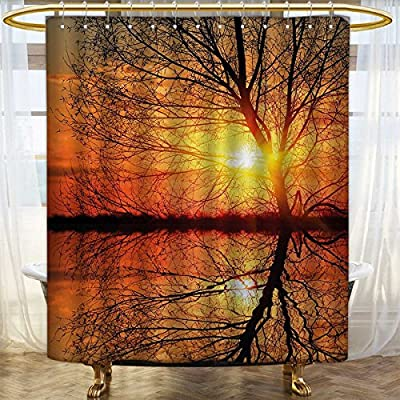 Fabric Shower Curtains Leafless Tree In Fall On Sunset Backdrop Horizon With Water Reflection Panorama Patterned Curtain 66x72 Orange Black