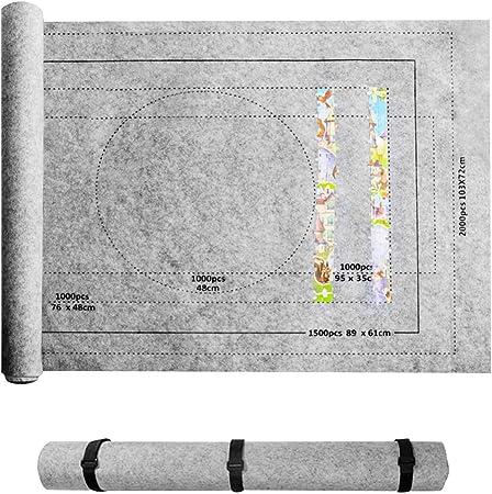Couverture en Feutre Enroulable Grise pour Jusqu/à 2000 Pi/èCes De Puzzle avec Ensemble dAccessoires De Sac De Rangement Portable LQKYWNA 80X118Cm Tapis De Puzzle