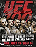 Georges St-Pierre Dan Henderson Michael Bisping Signed UFC 8.5x11 Poster - PSA/DNA Certified - Autographed UFC Event Poster review