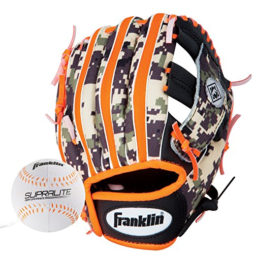 Franklin Sports Teeball Glove - Left and Right Handed Youth Fielding Glove - Synthetic Leather Baseball Glove - Ready To Play Glove (RTP) - 9.5 Inch Right Hand Throw - Orange Digi with Ball