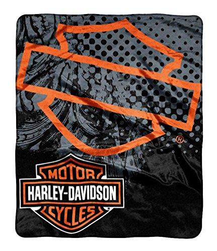 - Harley-Davidson Road Rash Raschel Throw Blanket, Black & Orange NW047105