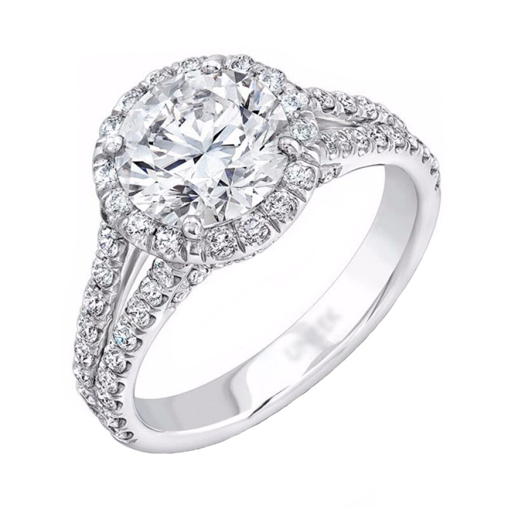 Sterling Silver Micropave Solitaire CZ Double Band Anniversary Engagement Ring Size 8