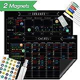 "Magnetic Behavior Chalkboard Rewards Chore Chart & Reusable Dry Erase Calendar Set – Eliminate Stress, Keep Important Meetings Top of Mind. Responsibility Magnets & Refrigerator Reward Set – 17"" x 11"""