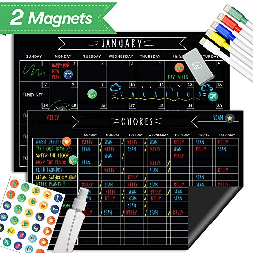 Magnetic Behavior Chalkboard Rewards Chore Chart & Reusable Dry Erase Calendar Set - Eliminate Stress, Keep Important Meetings Top of Mind. Responsibility Magnets & Refrigerator Reward Set - 17