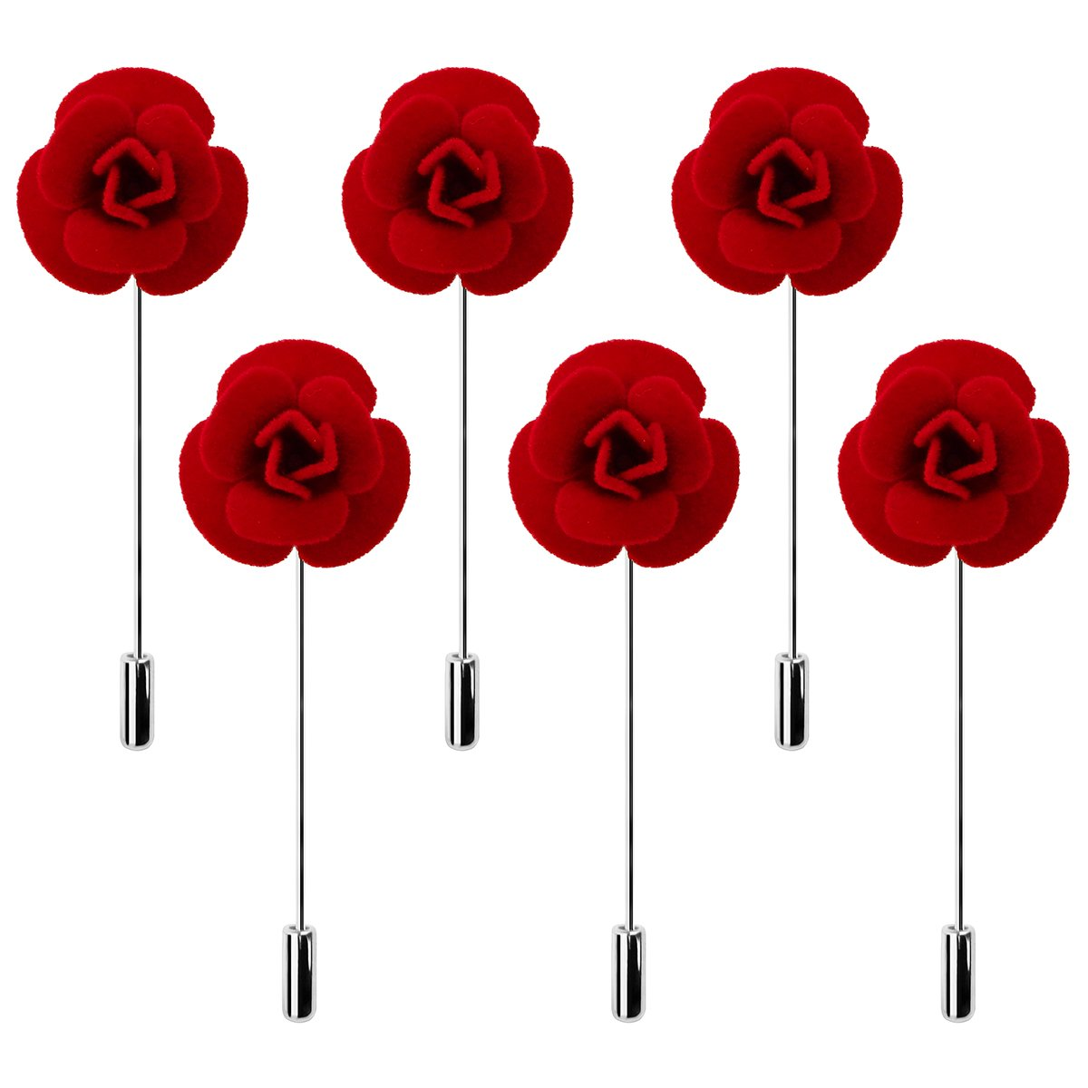 6 PCS Mens Boutonniere Set Pins Red Poppy Flocking Lapel Pin Remember Memorial Day Flowers