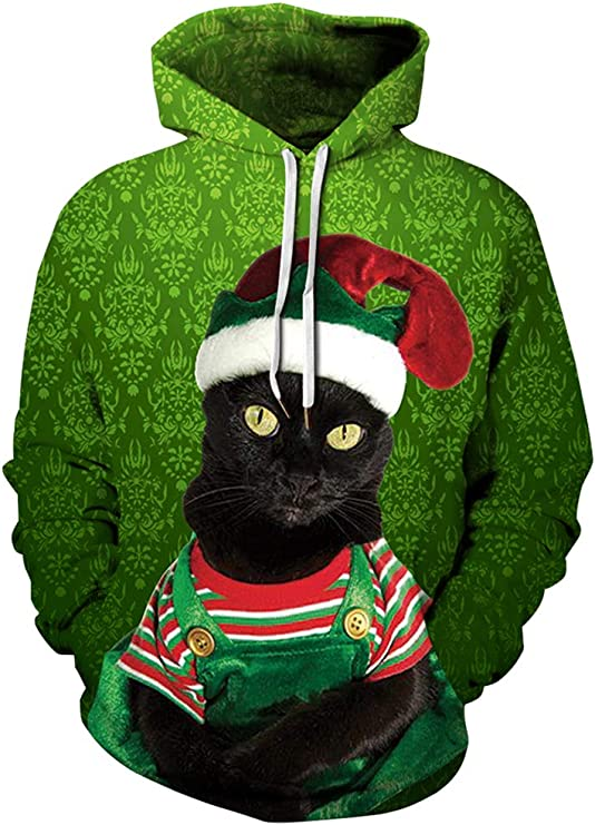 Ainuno Mens Womens Ugly Christmas Sweater 3D Hoodie Holiday Sweatshirt Ugly Christmas Sweater with Cats