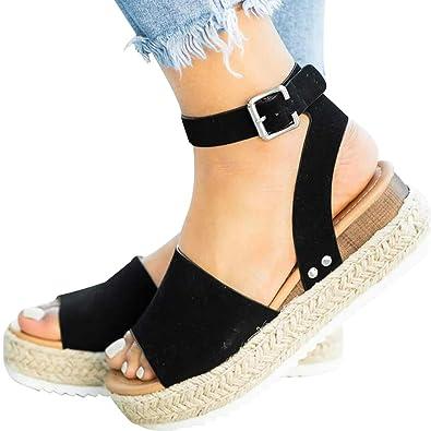 7c27be9b8 Athlefit Women's Platform Sandals Espadrille Wedge Ankle Strap Studded Open  Toe Sandals Size 5.5 Black