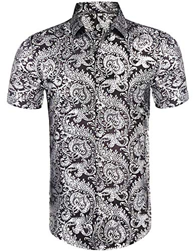Daupanzees Mens Floral Print Dress Shirts Short Sleeve Casual Button Front Cotton Luxury Rose Gold Shiny Flowered Printed Beach Hawaiian Shirts -