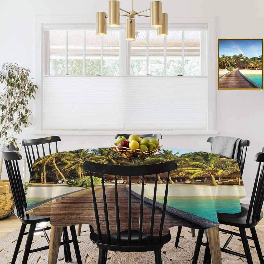 """36"""" Round Tablecloths,Printed Tablecloth,Beach,Wooden Bridge to Island Beach Resort with Colorful Rainbow Over Palm Trees,Brown Green Aqua"""