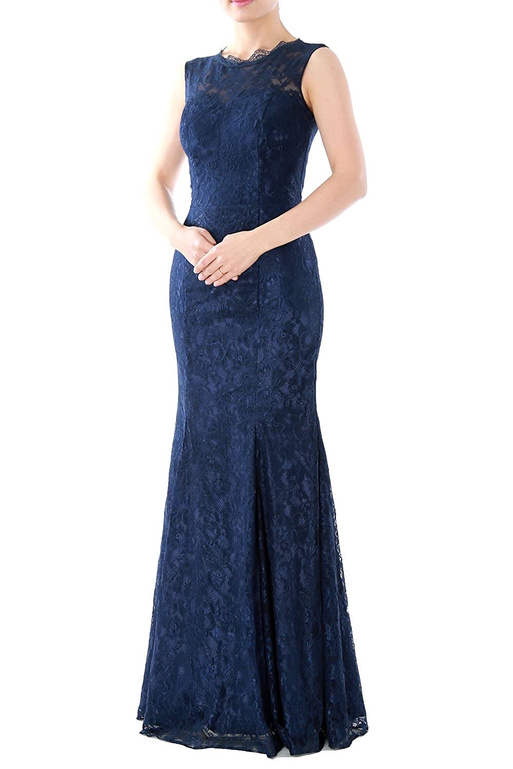 MACloth Women Mermaid Lace Long Bridesmaid Dress Wedding Formal Evening Gown