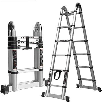 Taburete para Adultos Escalera de Extensión Multifunción Aluminio Telescópico Portátil Trapezoidal Escalera Plegable Comercial / 3.1+3.1 (straight ladder 6.2m): Amazon.es: Bricolaje y herramientas