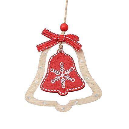 bestoyard 3pcs christmas tree hanging ornaments wood christmas bell cutout hanging embellishments crafts for christmas tree