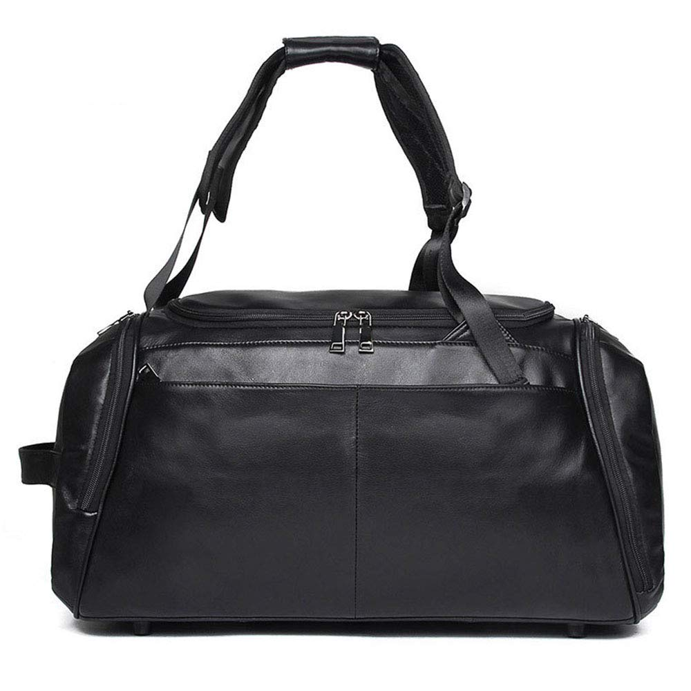 メンズレザートラベルバッグヴィンテージダッフルハンドバッグ大男性ビジネス荷物バッグ付きショルダーストラップバッグパック   B07QC13PJT