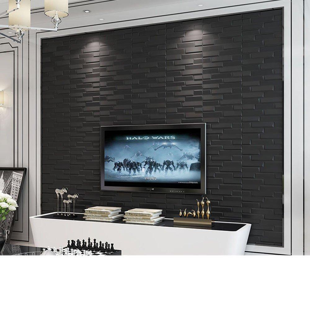YETUGE防音シート レンガ 壁紙 インテリア シール 70cm×77cm ブリックステッカー 軽量レンガシール 壁紙シール アクセントクロス ウォールシール はがせる 壁シール B075WSS7NP 二枚,黒