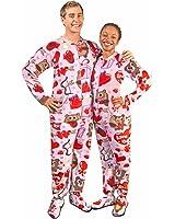 Love Bears Fleece Drop Seat Footed Pajamas