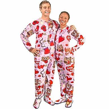 Bear Valentines Fleece Drop Seat Footed Pajamas, 5