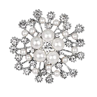 zhenleisier Brooch Pin,Fashion Faux Pearl Rhinistone Hollow Snowflake Women Brooch Pin Suit Sweater Shirt Skirt Scarf Lapel Denim Jacket Collar Bag Badge Cardigan Clip White: Home & Kitchen