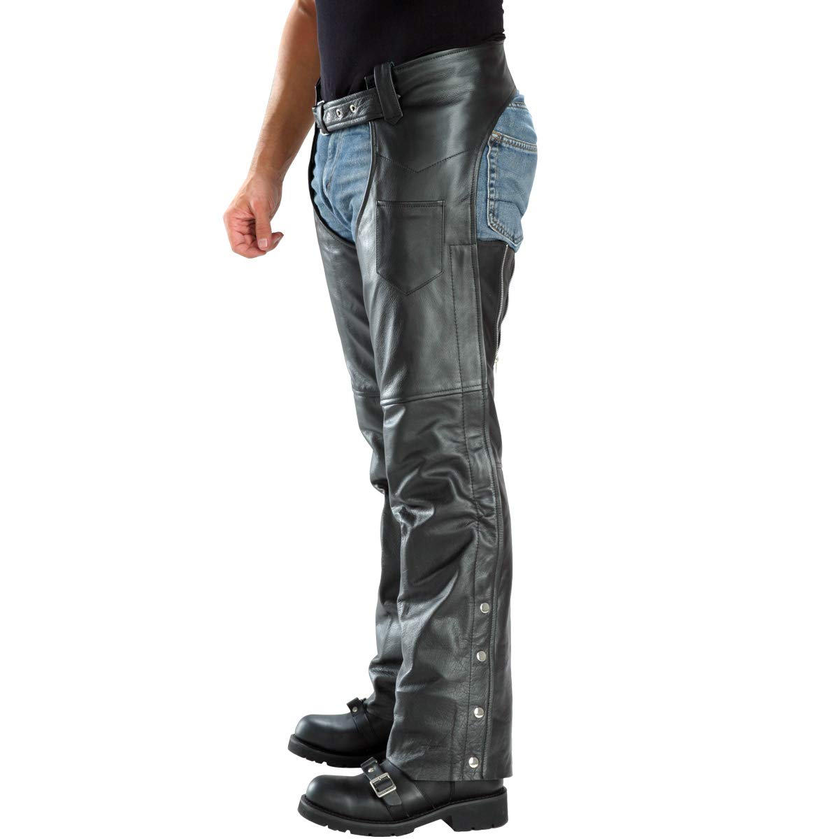 Xelement B7552 Men's Black Easy Fit Premium Motorcycle Chaps - 46 by Xelement