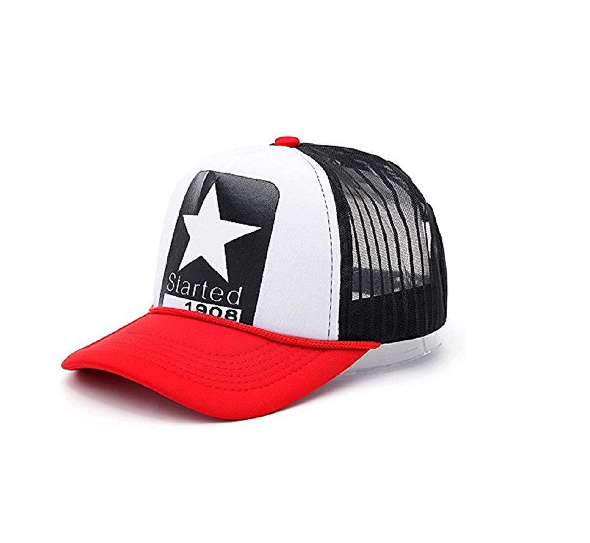 3898641e971 EASY4BUY® Boy s and Girl s Printed Half Net Fabric Baseball Front Side Mens  Cap(Star-RED)  Amazon.in  Car   Motorbike