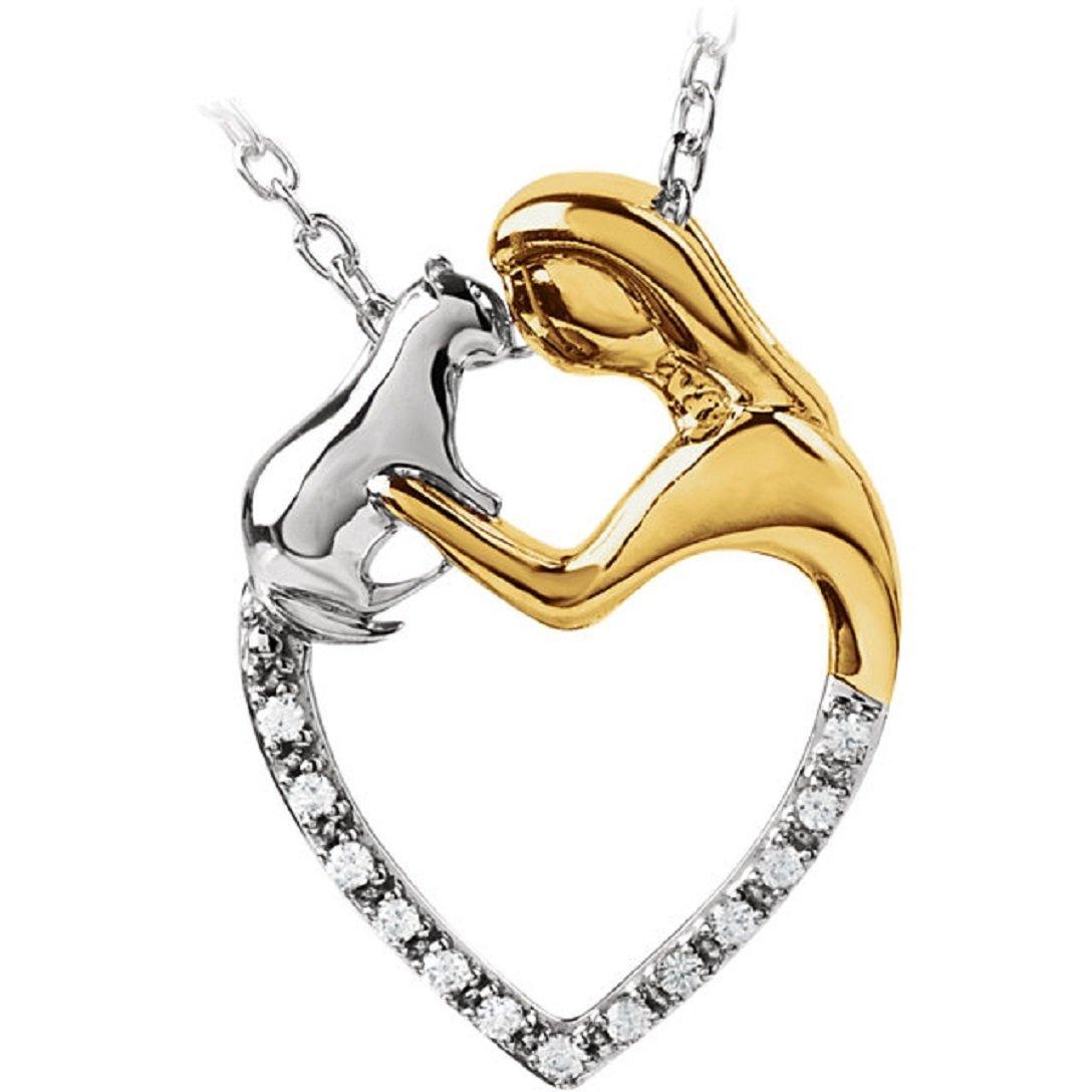 Roxx Fine Jewelry Tender Voices ASPCA .06 Ct. Diamond ''Best Friends'' 18'' Cat Necklace