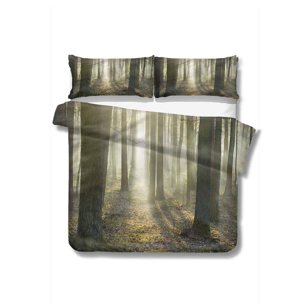 """Full Queen Duvet Cover Sets,Box Stitched,Soft,Breathable,Hypoallergenic,Fade Resistant 100% Cotton Reversible 3 Pieces Kids Girls Boys Bedding Sets-Forest Foggy Oak Forest In Morning (87""""W x 102""""L)"""