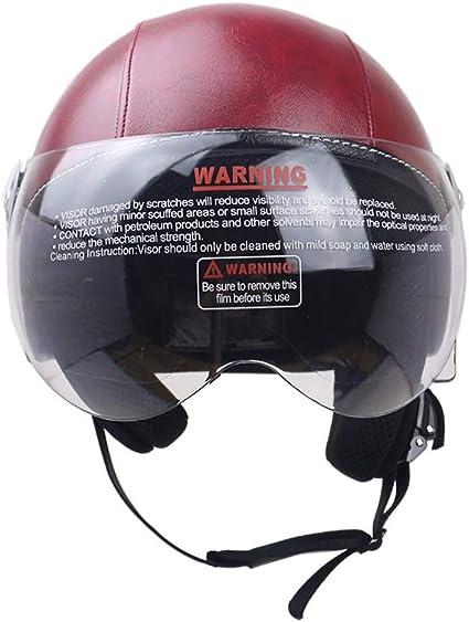 57-62cm Cascos Moto Half Helmet con Visera para Motocicleta Racer Ciclismo BMX Mujer Ligero Mujer y Hombre Adultos Cortical Certificaci/ón ECE//Dot