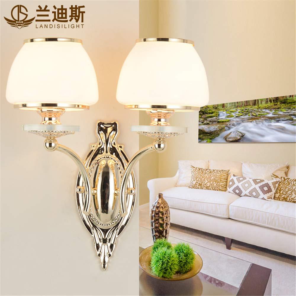 ブラケットライト リビングルームの壁ランプ暖かいホテルヴィラの寝室のベッドサイドランプモダンなミニマリストの廊下の壁ランプ、ダブルヘッド、37 * 40 cm B07RDKD9YS 37*40cm Double head