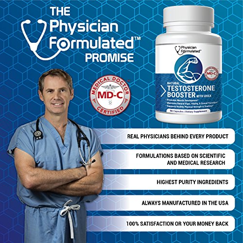 Physician Formulated #1 MD Formulated Testosterone Booster for Men 3X More Actives Powerful Muscle Pumping Libido Building Capsules DHEA, Tribulus, Fenugreek, Horny Goat, L Arginine 30Day Supplement