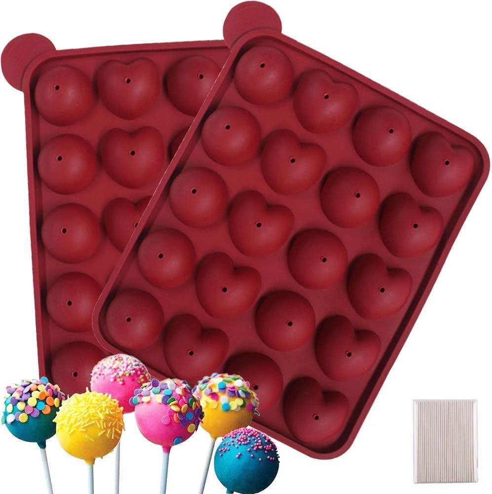 WENTS Molde de Piruleta 2PCS Molde de Pastel de Silicona Lollipop, Molde esférico, se Puede Utilizar para Dulces, gelatina y Chocolate