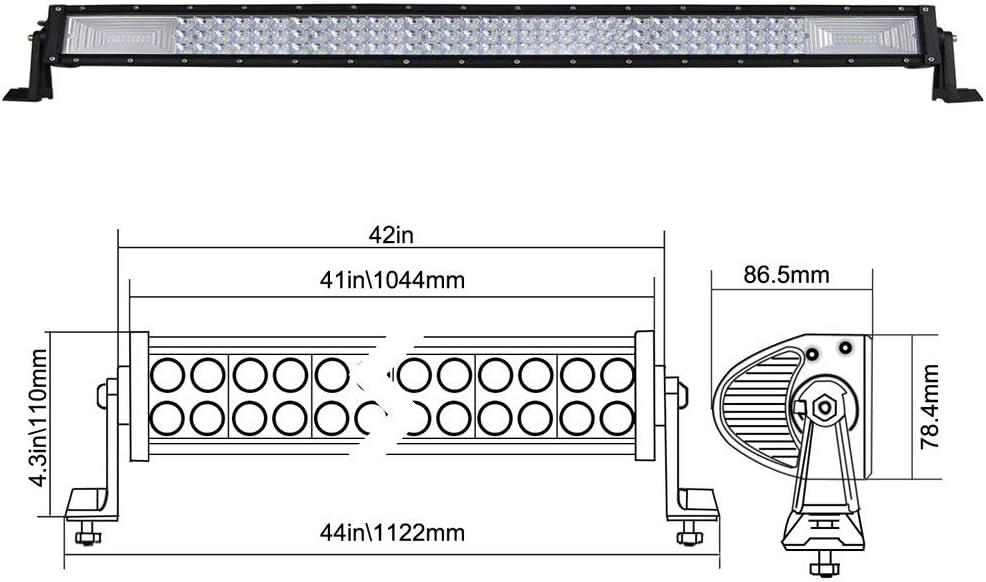 Willpower 22 pouces 270W LED Barre de lumi/ère Triple rang/ée Barre de lumi/ère de travail Super Bright Spot Combo conduite hors route lampes avec kit faisceau de c/âblage pour camion ATV UTV SUV