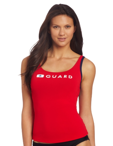 Speedo Women's Guard Tankini, Red, Medium