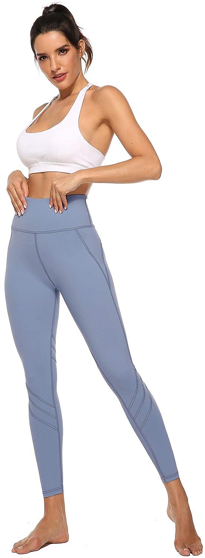 Persit Damen Sport Leggings Hohe Taille Blickdicht Lange Sporthose mit 2 Innentaschen