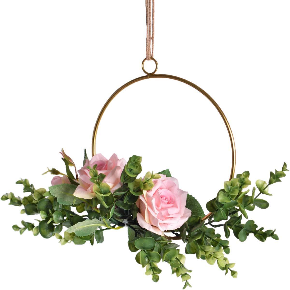 Pauwer Kranz 3er Set Handgefertigt Rose Blumenkranz mit Eukalyptus Golden Metall Ringe Blumen Hoop Wandkranz f/ür Zuhause T/üren Rose Floral Hoop Set of 3 Hochzeiten Parties