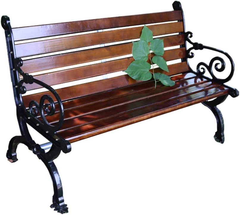 Outdoor Terrace Garden Bench Park Bench with backrest, 3-Seater Weather-Resistant Outdoor Leisure cast Aluminum Chair, Anticorrosive Solid Wood Porch Chair, with a Load-Bearing Capacity of 880 Pound