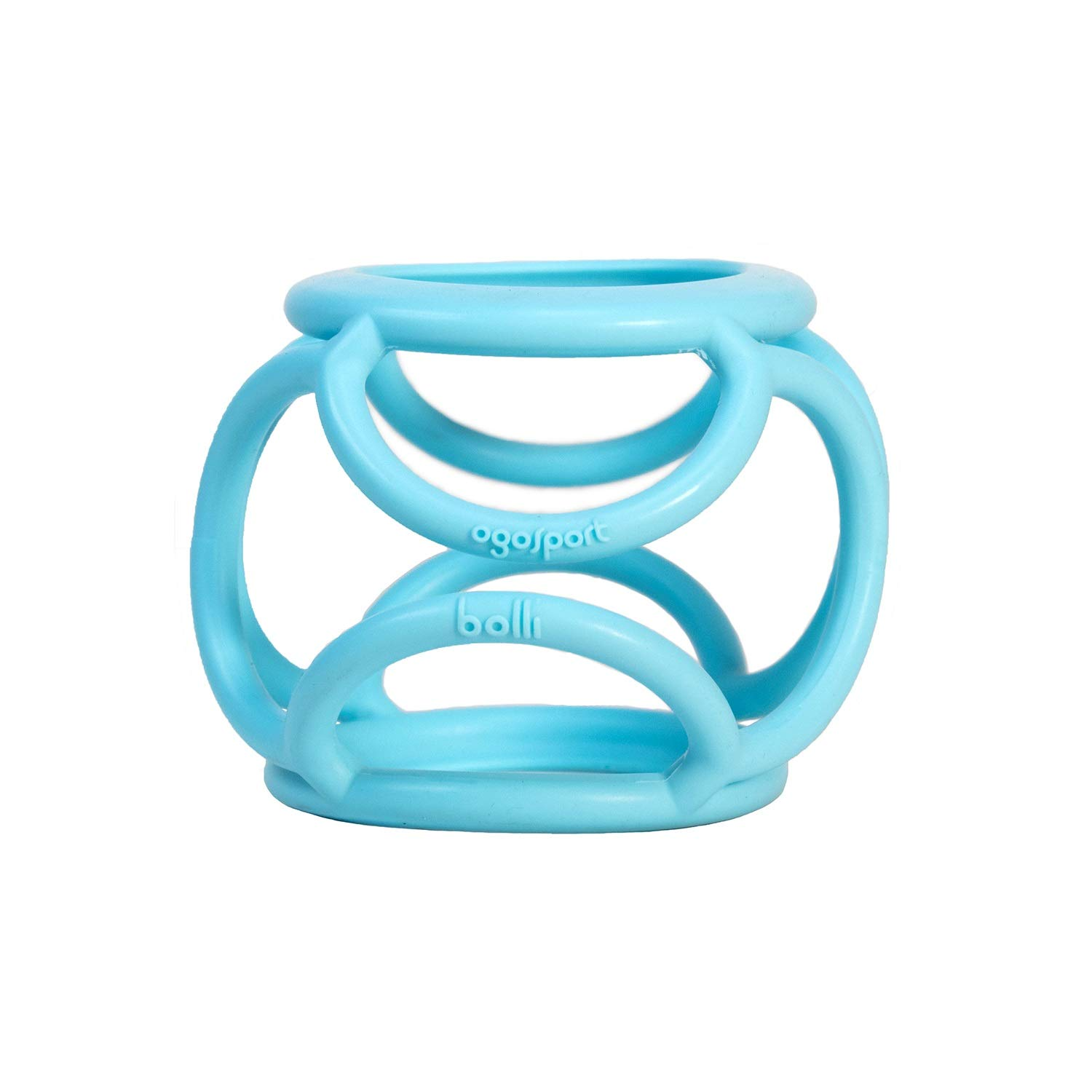 PVC Grippi Bottle Ball Blue OgoSport Baby Bottle Holder and Sensory Teether Toy for Babies Ages 6 Months and Up BPA and Phthalate-Free, Made from Safe Non-Toxic Stretchy Silicone