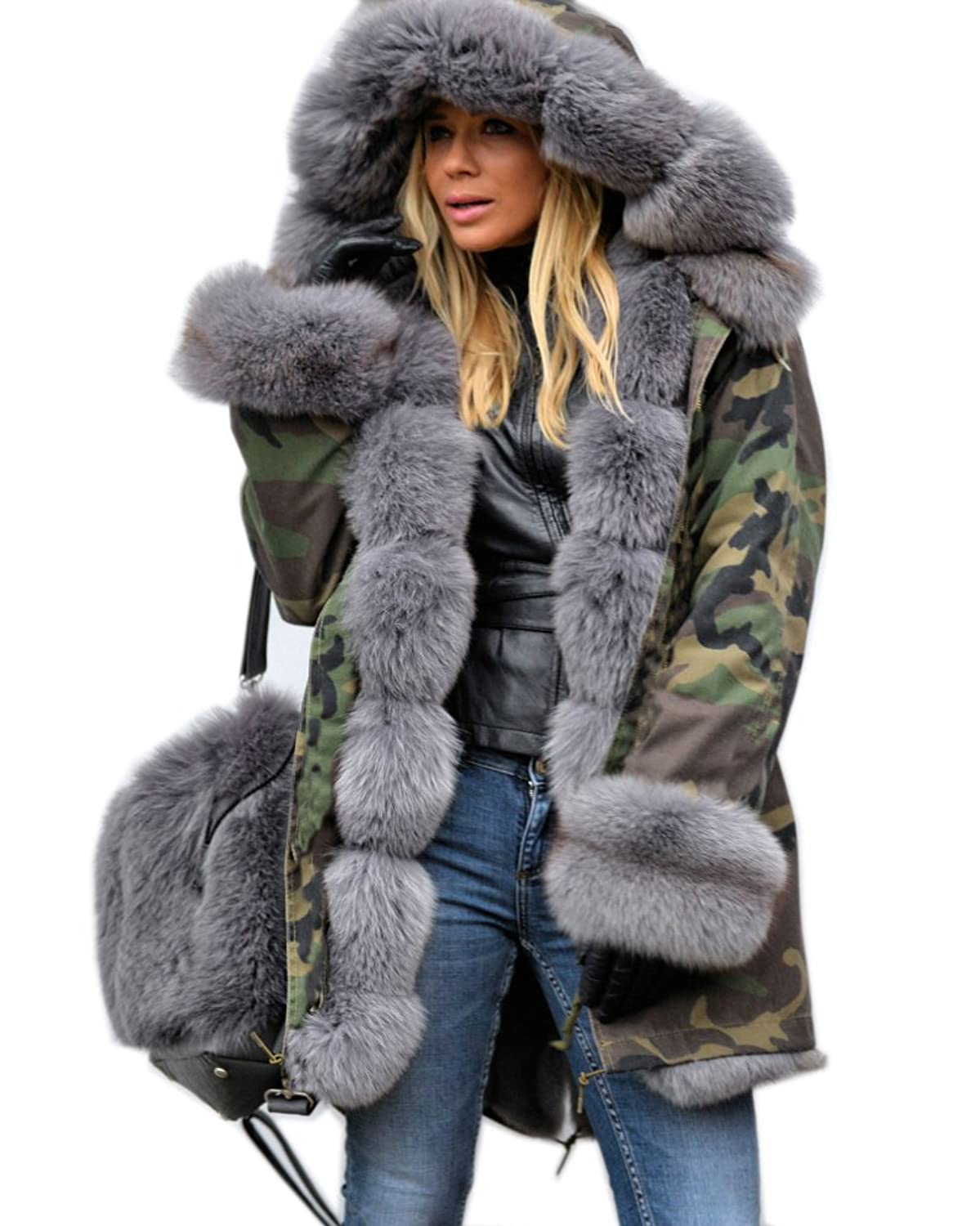 Roiii Grey Faux Fur Military Camouflage Women Hooded Outdoor ...