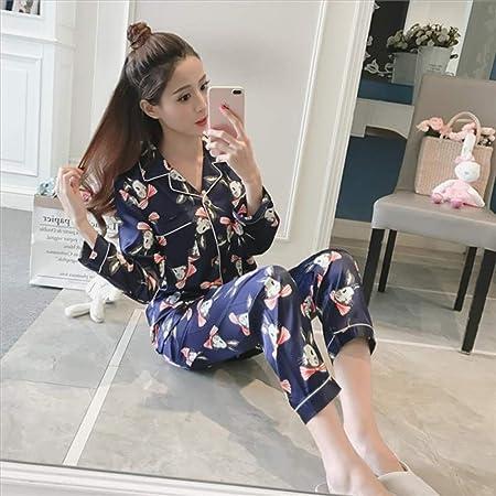 Conjunto de Pijama de satén de Pijama de Seda Artificial con ...