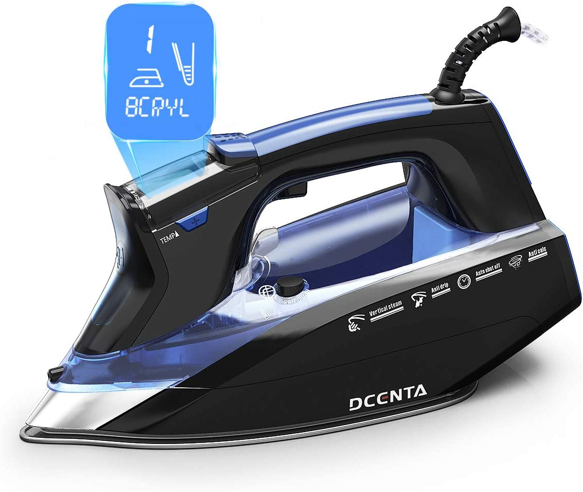 Dcenta LCD Screen Steam Iron, 11 Temperature and Fabric Settings Steam Iron for Clothes,Professional Grade Powerful 1800W, 3-Way Auto-Off, Self-Cleaning, Anti-Drip Clothes Iron for Home