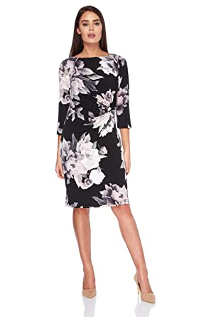 58de75887 Roman Originals Ladies Monochrome Rose Print Dress - Ladies Mother of The  Groom Bride Wedding Outfit 3/4 Sleeves Dresses: Amazon.co.uk: Clothing