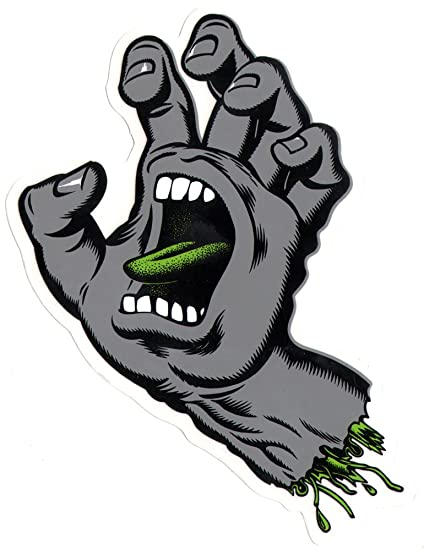 Santa cruz screaming hand cool grey skateboard sticker 8cm high approx skate sk8 skateboarding